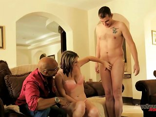 Sierra Sanders Takes A Pounding From A Black Cock As Her Man Watches